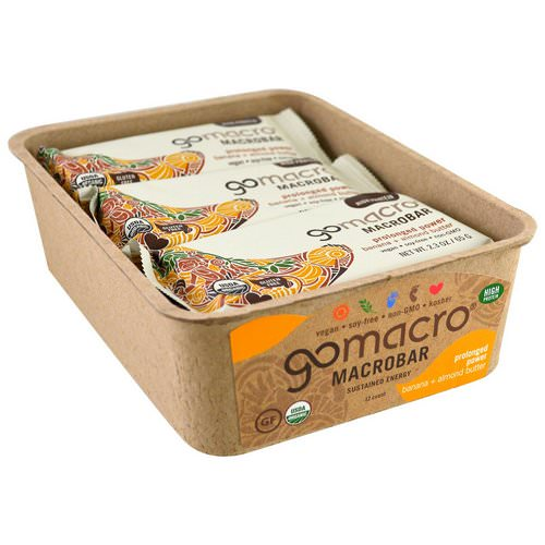 GoMacro, Macrobar, Prolonged Power, Banana + Almond Butter, 12 Bars, 2.3 oz (65 g) Each فوائد