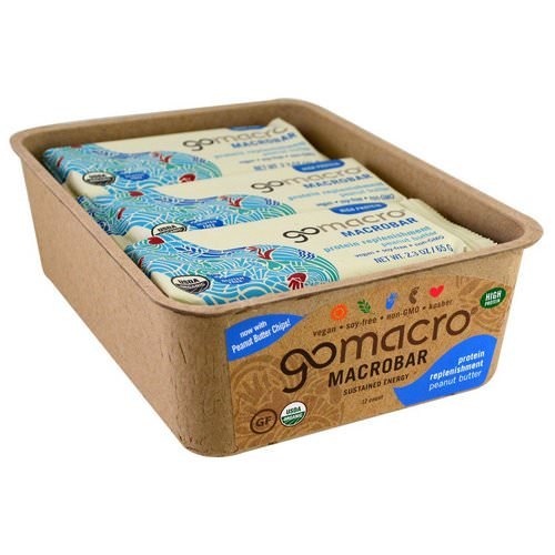 GoMacro, Macrobar, Protein Replenishment, Peanut Butter, 12 Bars, 2.3 oz (65 g) فوائد