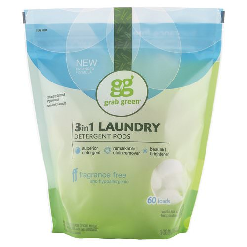 Grab Green, 3-in-1 Laundry Detergent Pods, Fragrance Free, 60 Loads, 2lbs, 6oz (1,080 g) فوائد