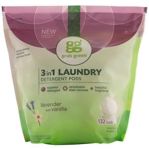 Grab Green, 3-in-1 Laundry Detergent Pods, Lavender,132 Loads, 5lbs, 4oz (2,376 g) فوائد