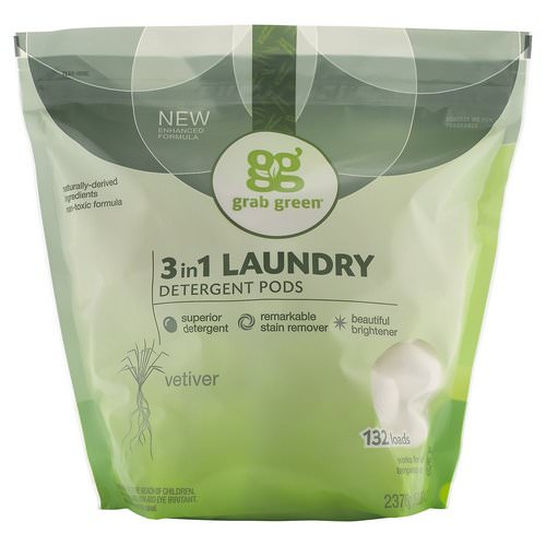 Grab Green, 3 in 1 Laundry Detergent Pods, Vetiver,132 Loads, 5lbs, 4oz (2,376 g) فوائد