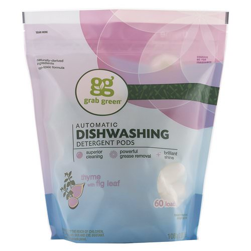 Grab Green, Automatic Dishwashing Detergent Pods, Thyme with Fig Leaf, 60 Loads,2lbs, 6oz (1,080 g) فوائد