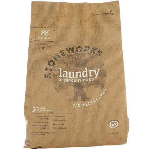 Grab Green, Stoneworks, Laundry Detergent Pods, Oak Tree, 50 Loads, 1.65 lbs (750 g) فوائد