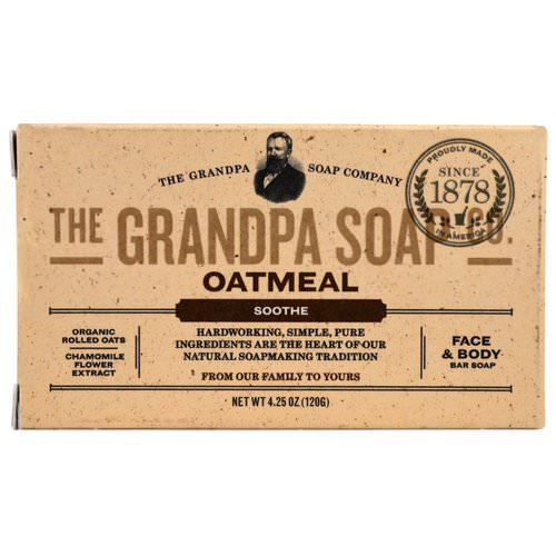 Grandpa's, Face & Body Bar Soap, Soothe, Oatmeal, 4.25 oz (120 g) فوائد