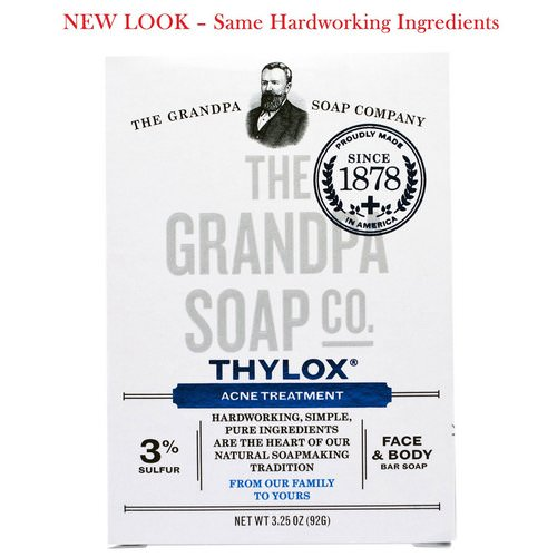 Grandpa's, Face & Body Bar Soap, Thylox Acne Treatment,3.25 oz (92 g) فوائد