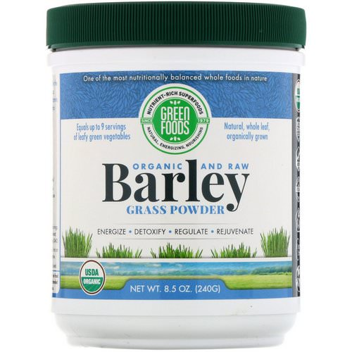 Green Foods, Organic and Raw, Barley Grass Powder, 8.5 oz (240 g) فوائد