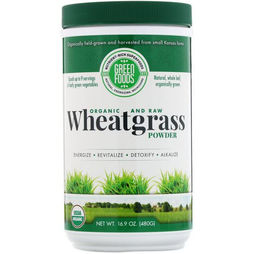 Green Foods, Organic and Raw Wheatgrass Powder, 16.9 oz (480 g) فوائد