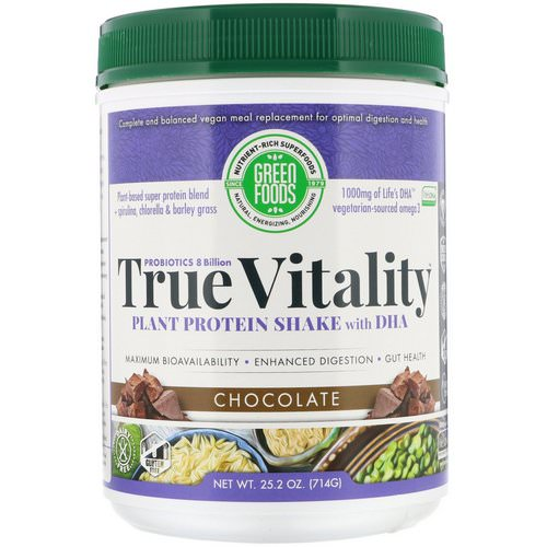 Green Foods, True Vitality, Plant Protein Shake with DHA, Chocolate, 1.57 lbs (714 g) فوائد