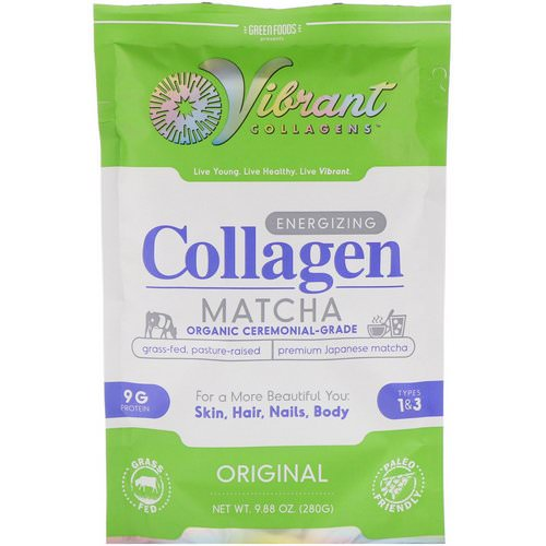 Green Foods, Vibrant Collagens, Energizing Collagen Matcha, Original, 9.88 oz (280 g) فوائد