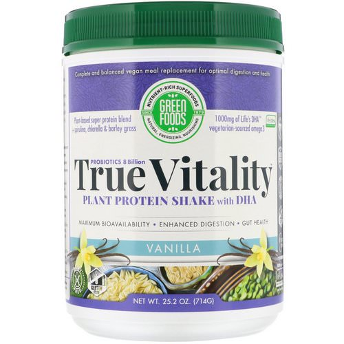Green Foods, True Vitality, Plant Protein Shake with DHA, Vanilla, 1.57 lbs (714 g) فوائد