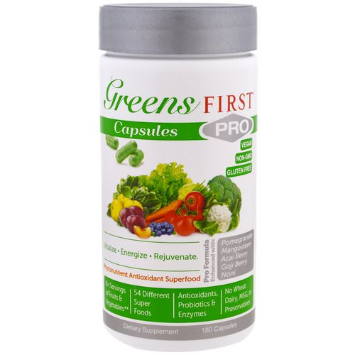 Greens First, PRO Phytonutrient Antioxidant Superfood, 180 Capsules فوائد