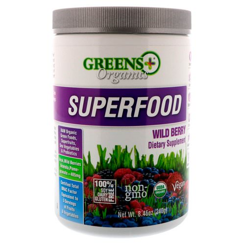 Greens Plus, Organics Superfood, Wild Berry, 8.46 oz (240 g) فوائد
