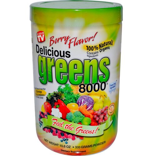 Greens World, Delicious Greens 8000, Berry Flavor, Powder, 10.6 oz (300 g) فوائد