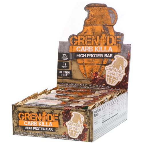 Grenade, Carb Killa High Protein Bar, Caramel Chaos, 12 Bars, 2.12 oz (60 g) Each فوائد