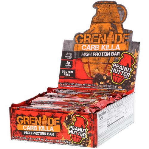 Grenade, Carb Killa Bars, Peanut Nutter, 12 Bars, 2.12 oz (60 g) Each فوائد
