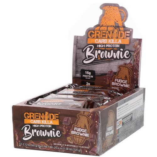 Grenade, Carb Killa Brownie, Fudge Brownie, 12 Bars, 2.12 oz (60 g) Each فوائد