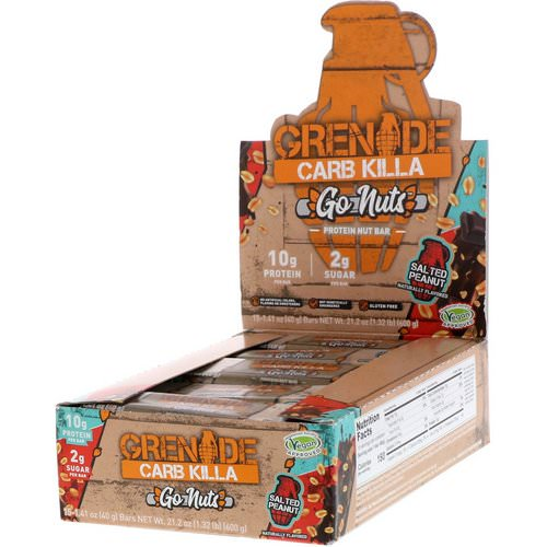 Grenade, Carb Killa, Go Nuts Protein Nut Bar, Salted Peanut, 15 Bars, 1.41 oz (40 g) Each فوائد