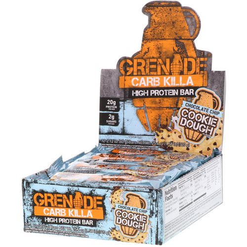 Grenade, Carb Killa, High Protein Bar, Chocolate Chip Cookie Dough, 12 Bars, 2.12 oz (60 g) Each فوائد