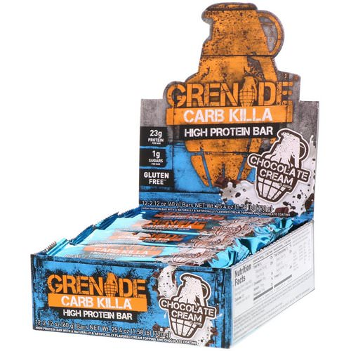 Grenade, Carb Killa, High Protein Bar, Chocolate Cream, 12 Bars, 2.12 oz (60 g) Each فوائد