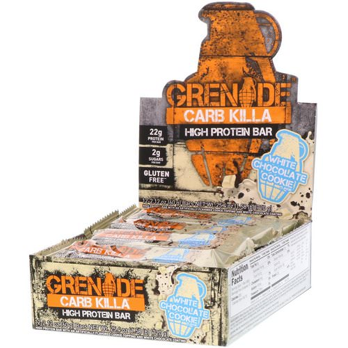 Grenade, Carb Killa High Protein Bar, White Chocolate Cookie, 12 Bars, 2.12 oz (60 g) Each فوائد