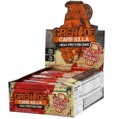 Grenade, Carb Killa, High Protein Bar, White Chocolate Salted Peanut, 12 Bars, 2.12 oz (60 g) Each فوائد