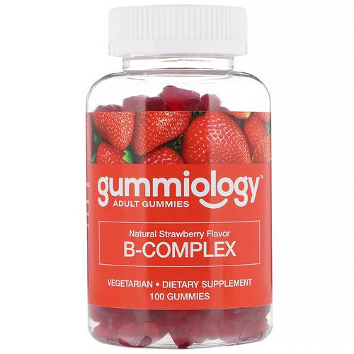 Gummiology, Adult B Complex Gummies, Natural Strawberry Flavor, 100 Vegetarian Gummies فوائد