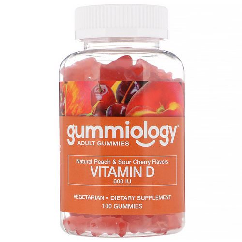 Gummiology, Adult Vitamin D3 Gummies, Natural Peach & Sour Cherry Flavors, 100 Vegetarian Gummies فوائد