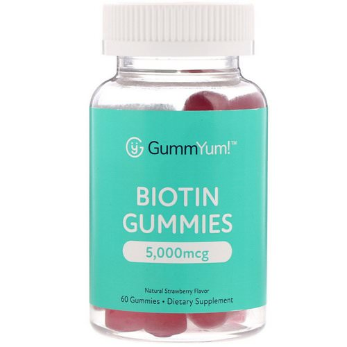 GummYum! Biotin Gummies, Natural Strawberry Flavor, 2,500 mcg, 60 Gummies فوائد