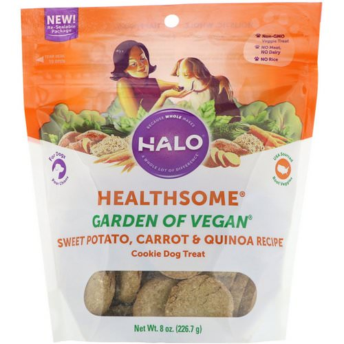 Halo, Healthsome, Garden of Vegan, Cookie Dog Treat, Sweet Potato, Carrot & Quinoa Recipe, 8 oz (226.7 g) فوائد
