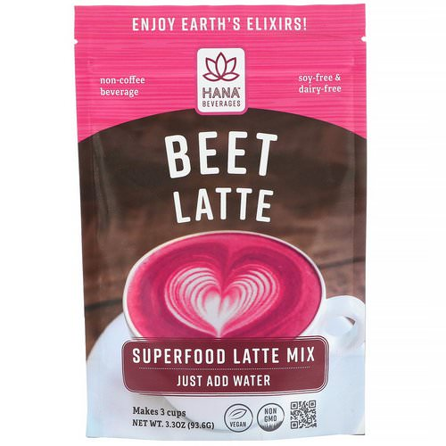Hana Beverages, Beet Latte, Non-Coffee Superfood Beverage, 3.3 oz (93.6 g) فوائد