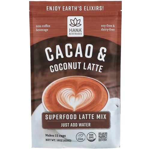 Hana Beverages, Cacao & Coconut Latte, Non-Coffee Superfood Beverage, 16 oz (454 g) فوائد