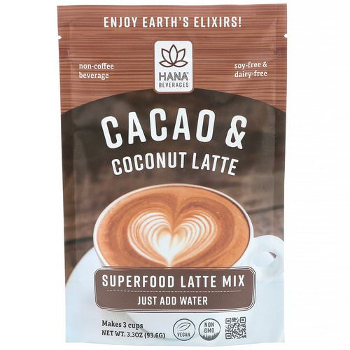 Hana Beverages, Cacao & Coconut Latte, Non-Coffee Superfood Beverage, 3.3 oz (93.6 g) فوائد