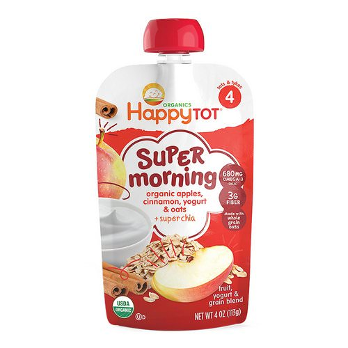 Happy Family Organics, Happy Tot, Stage 4, Super Morning, Fruit, Yogurt & Grain Blend, Organic Apples, Cinnamon, Yogurt & Oats, 4 oz (113 g) فوائد