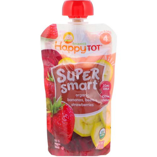 Happy Family Organics, Happy Tot, Super Smart, Fruit & Veggie Blend, Organic Bananas, Beets & Strawberries, Stage 4, 4 oz (113 g) فوائد