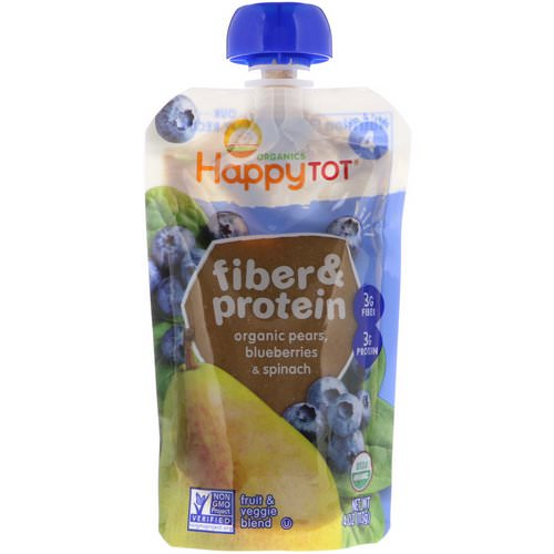 Happy Family Organics, Happytot, Fiber & Protein, Organic Pears, Blueberries & Spinach, 4 oz (113 g) فوائد