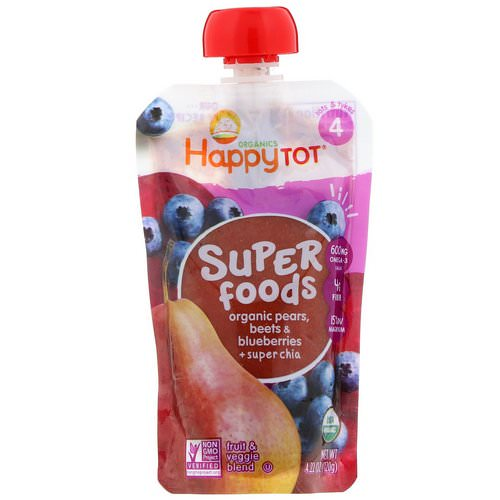 Happy Family Organics, Happytot, Superfoods, Organic Pears, Beets & Blueberries plus Super Chia, 4.22 oz (120 g) فوائد