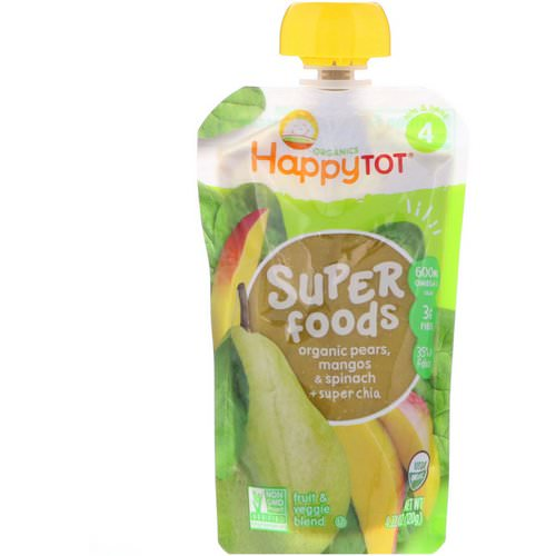 Happy Family Organics, HappyTot, SuperFoods, Organic Pears, Mangos & Spinach + Super Chia, 4.22 oz (120 g) فوائد