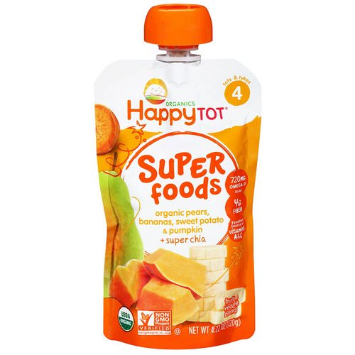 Happy Family Organics, Happytot, Superfoods, Pears, Bananas, Sweet Potato & Pumpkin + Superchia, 4.22 oz (120 g) فوائد