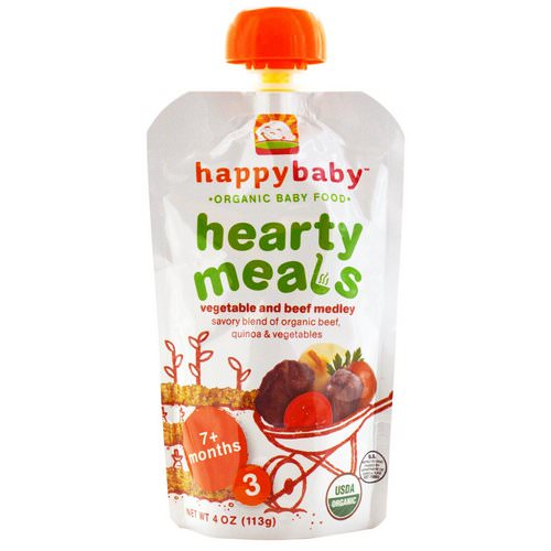 Happy Family Organics, Organic Baby Food, Hearty Meals, Vegetable and Beef Medley, 7+ Months, Stage 3, 4 oz (113 g) فوائد