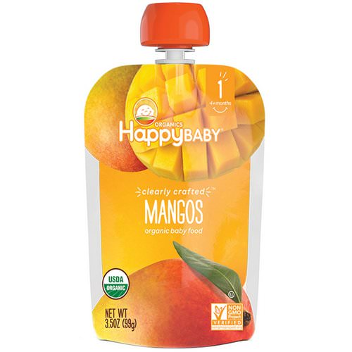 Happy Family Organics, Organic Baby Food, Stage 1, Clearly Crafted, Mangos, 4 + Months, 3.5 oz (99 g) فوائد