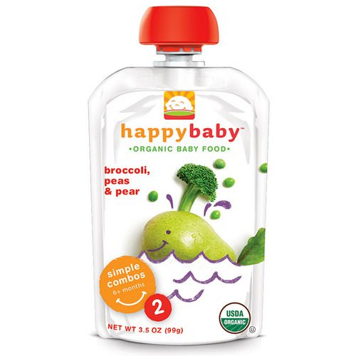 Happy Family Organics, Organic Baby Food, Stage 2, 6+ Months, Broccoli, Peas & Pear, 3.5 oz (99 g) فوائد
