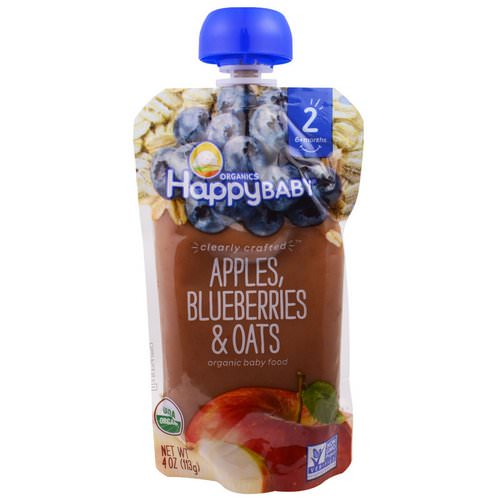 Happy Family Organics, Organic Baby Food, Stage 2, Clearly Crafted, 6+ Months, Apples, Blueberries, & Oats, 4.0 oz (113 g) فوائد