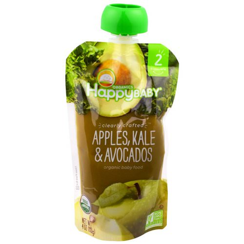 Happy Family Organics, Organic Baby Food, Stage 2, Clearly Crafted, 6+ Months, Apples, Kale & Avocados, 4 oz (113 g) فوائد