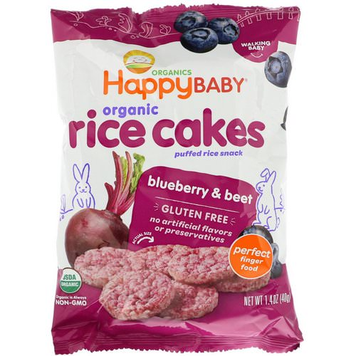 Happy Family Organics, Organic Rice Cakes, Puffed Rice Snack, Blueberry & Beet, 1.4 oz (40 g) فوائد