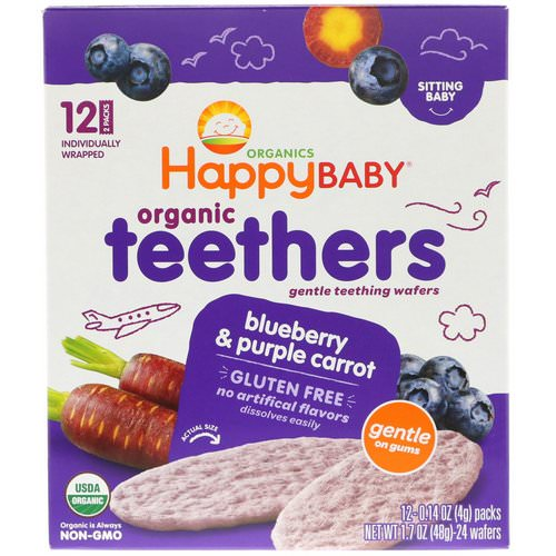 Happy Family Organics, Organic Teethers, Gentle Teething Wafers, Sitting Baby, Blueberry & Purple Carrot, 12 Packs, 0.14 oz (4 g) Each فوائد