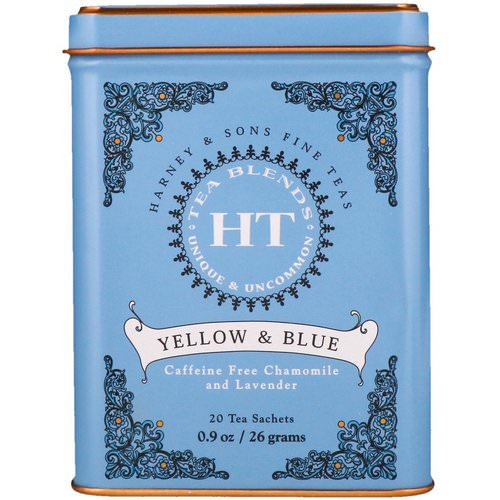Harney & Sons, HT Tea Blend, Yellow & Blue, Caffeine Free Chamomile and Lavender, 20 Tea Sachets, 0.9 oz (26 g) فوائد