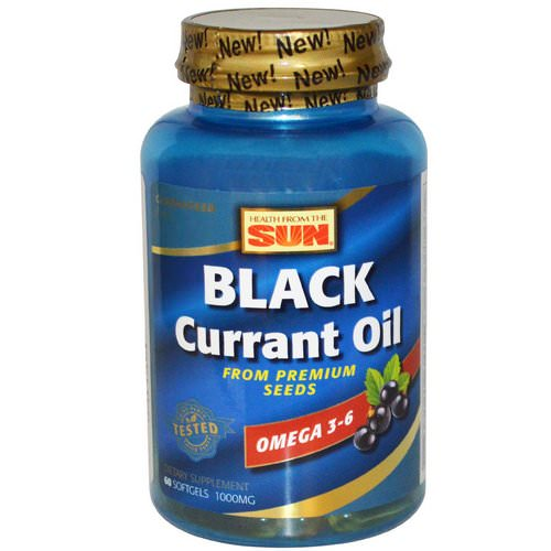 Health From The Sun, Black Currant Oil, 1,000 mg, 60 Softgels فوائد