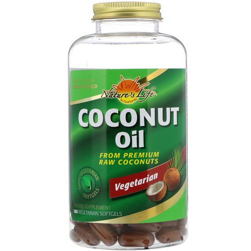 Health From The Sun, Coconut Oil, 180 Vegetarian Softgels فوائد