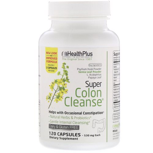 Health Plus, Super Colon Cleanse, 530 mg, 120 Capsules فوائد