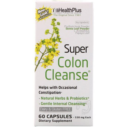 Health Plus, Super Colon Cleanse, 530 mg, 60 Capsules فوائد